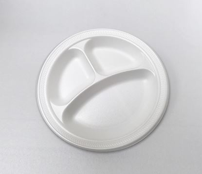 "Picture of 9"" Foam Plate 3 compartment (125/4) Bulk"