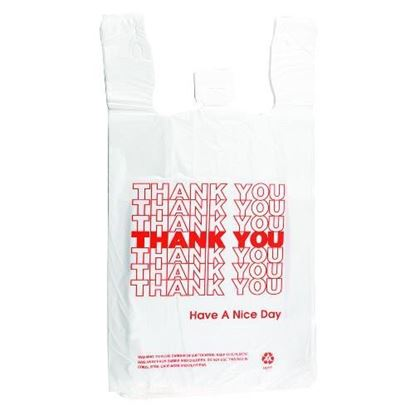 Picture of 1/8 HDPE Red Thank you Shopping  Bags